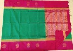Classic Green & Purple Color Silk Saree