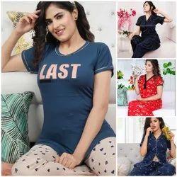 Casual Wear Ladies Designer T Shirt And Pyjama Set, Size: 30