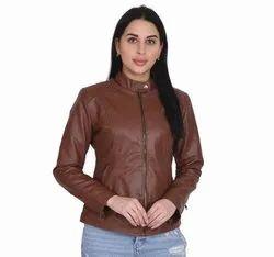 Regular Wear Plain Ladies Brown PU Leather Jacket