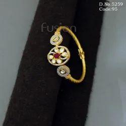 American Diamond & Kundan Fusion Openable Brass Kada Bracelet