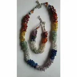 Multicolor Party 7 Chakra Uncut Mala Set, One Necklace And One Bracelet