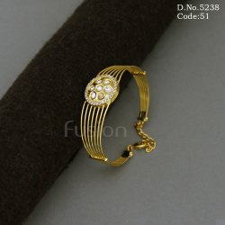 Brass Golden American Diamond & Kundan Fusion Openable Kada Bracelet