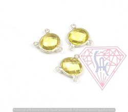 Lemon Quartz Gemstone Bezel Connector
