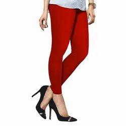 Cotton Plus Lycra Churidar Lux Lyra Red Chudidar Leggings, Size: Free Size