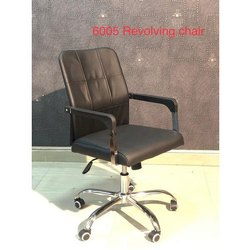 Black Leather 6005 Office Mid Back Revolving Chair
