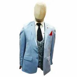 Party Plain 3 Piece Mens Trendy Cotton Suit, Size: M-XXL