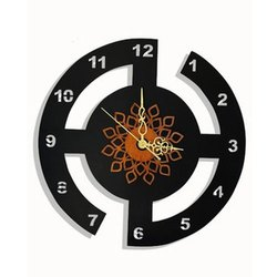 Vimal Enterprise Black Mdf DesignerWall Clock, Size: 12 Inch