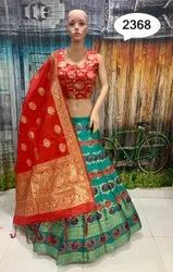 Red And Rama Banarasi Silk Lehenga Choli
