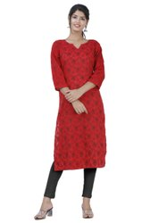 Round Neck Red Women Cotton Printed Kurta, Size: S M L Xl 2XL