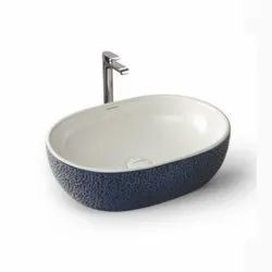 Table Top Wash Basin Texture Blue Glossy