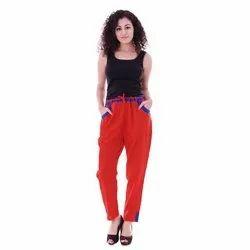 Dimage Red Ladies Stylish Flex Cotton Pant