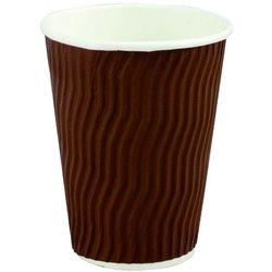 Brown Riped Disposable Paper Coffee Cup, For Event and Party Supplies, Capacity: 210 Ml