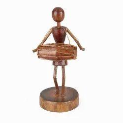 Brown Designer Warli Wooden Handicraft Sculpture, For Decoration, Size/Dimension: 8 Inches (height)