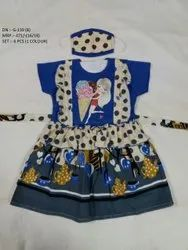 Latest Beautiful Half Sleeves  Frock With Mask For Baby Girls