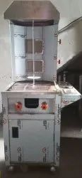 Two Burner Shawarma Machine Standing With Hot Plate & Trolly