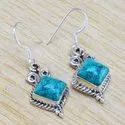 925 Sterling Silver Jewelry Nice Turquoise Gemstone New Earring WE-6276