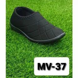 Ladies Black Fabric Slip On Shoes