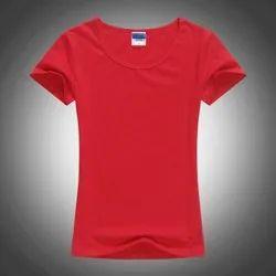 Round Casual Wear Ladies Plain Cotton Half Sleeve T-Shirt
