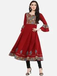 Cotton Patch Work Anarkali Kurta