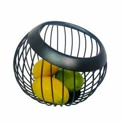 Fruit Basket Round - Dark Brownish Black - For Use At Dinning Table And Hotel Rooms