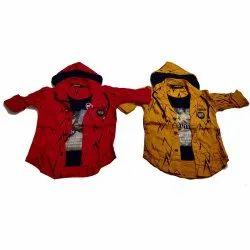 Full Sleeves Regular Fit Kids Stylish Hooded Shirt