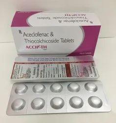 Aceclofenac 100 mg, Thiocolchicoside 4mg Tablets