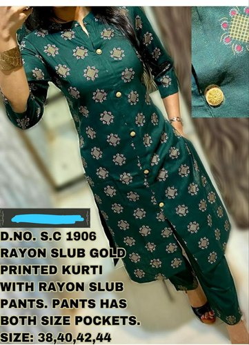 Dark Green Rayon Kurti With Pant