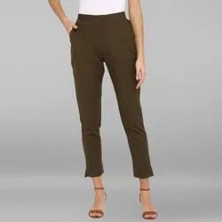 Janasya Women's Dark Green Pure Cotton Narrow Pant(BTM030)