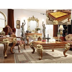 Malik Furniture Modern Designer Wooden Carved Center Table