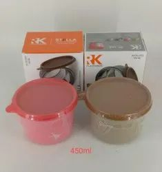 Plastic 450 ml Stella Steel Container, For Office
