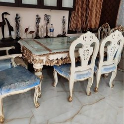 Wooden Antique Glass Top Dining Table Set