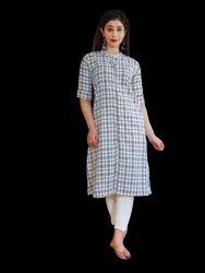 Formal Wear Straight Women Checkered Pure Cotton A-line Kurta (White), Regular Machine Wash