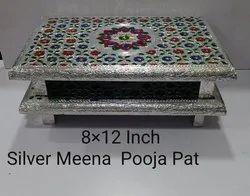 8x12 Inch Silver Meena Pooja Pat
