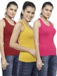 Women Premium Cotton Lycra Solid Racer Back Tank Top Workout Sports Tshirts