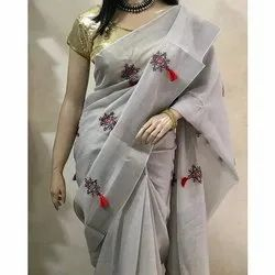 Party Wear Cotton Embroidery Saree, With Blouse Piece, 6.5 mtr
