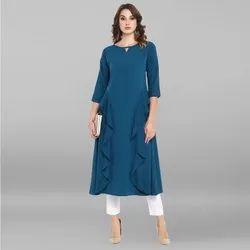 Janasya Women's Turquoise Blue Poly Crepe Ruffle Kurta(JNE3323)