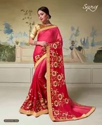 Red Color Rangoli Sik Saree