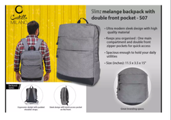 S07 Slimz Gray Backpack With Double Front Pocket By Castillo Milano