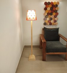 Beige Wooden Babel Floor Lamp