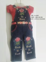 Flower Printed Half Sleeve Dangri With Full Pant Set For Girls