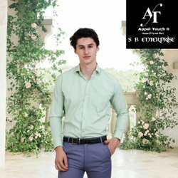 Appel Touch Cotton Men Aqua Green Full Sleeve Shirt, Handwash