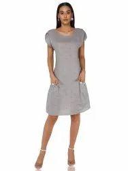 Grey Linen Dobby Dress