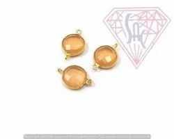 Peach Moonstone Gemstone Connector