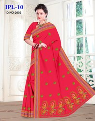 Wedding Wear Embroidery Cotton Saree, Without Blouse, 5.5 m