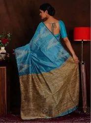 silk-cotton handlum Tmh tye and dye Silk Saree, Without Blouse, 6.3 m