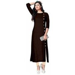 Casual Wear Straight Ladies Dark Brown Ribbon Kurti, Wash Care: Machine wash