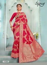 Designer Fancy Wedding Wear Jacquard Saree