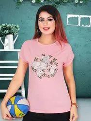 Casual Wear Round Stylish Women Fancy T-shirt, Size: Free Size