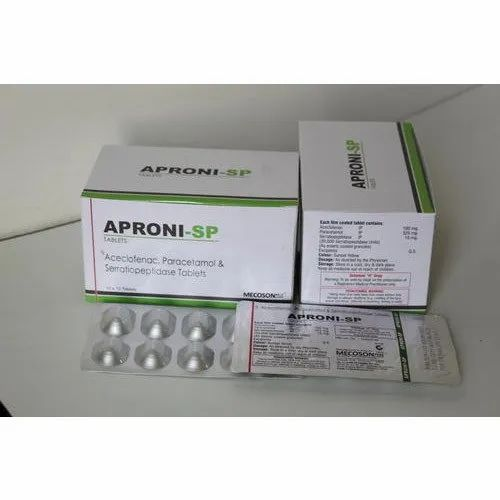 Aceclofenac, Serratiopeptidase And Paracetamol Tablets