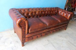 Brown Wooden+Leather Vintage Industrial Pure Leather Chester Field Sofa, Living Room, Size: L84xd30xh31 Inch